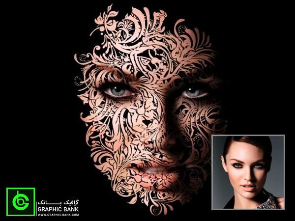 آموزش اعمال افکت گل و بوته روی صورت در فتوشاپ