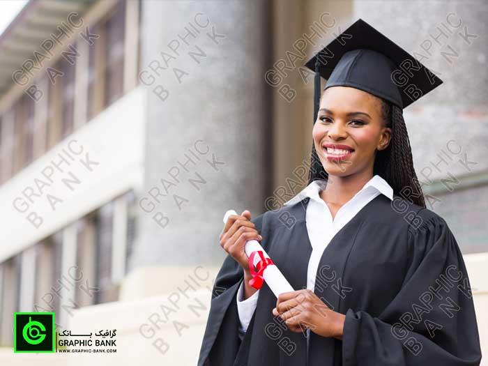 تصویر دختر دانشجو سیاه پوست