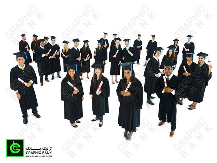 تصویر دانشجویان با لباس تحصیل