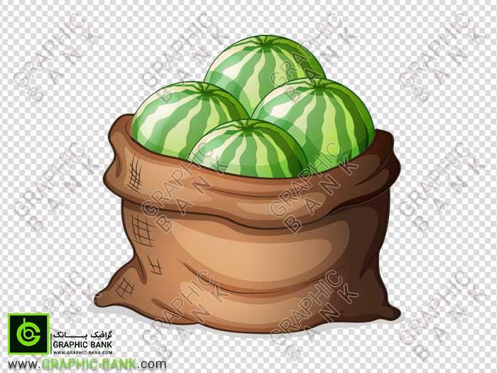 تصویر گونی پر هندوانه