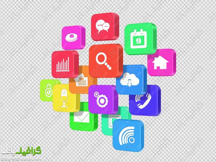 آیکون ها سه بعدی شبکه های اجتماعی