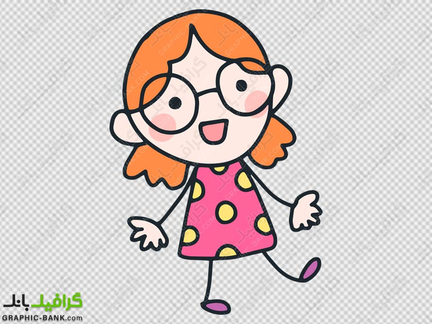 دختر بچه با عینک png
