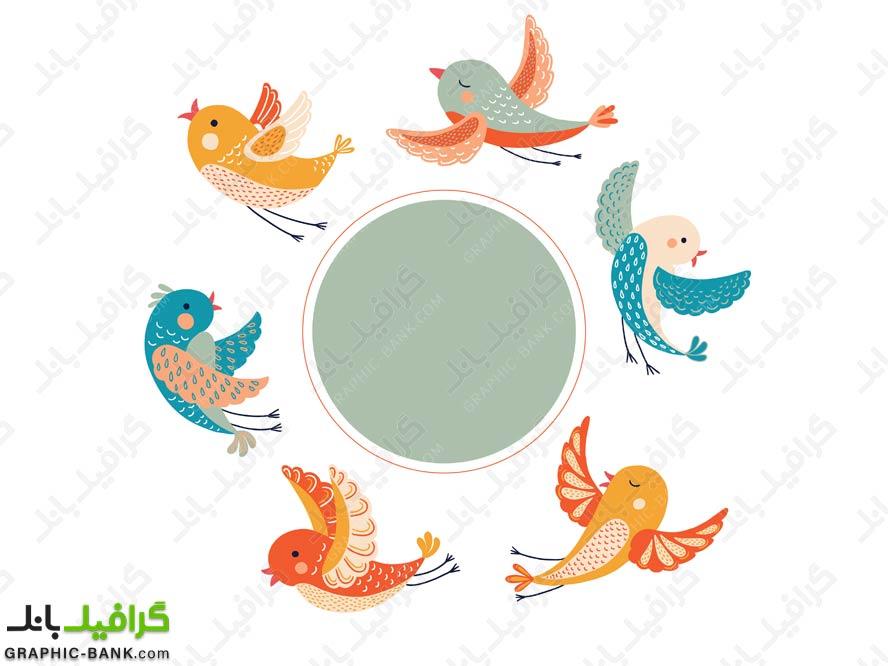 وکتور پرنده های رنگی