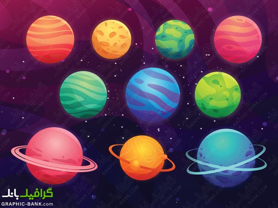 وکتور انواع سیاره ها