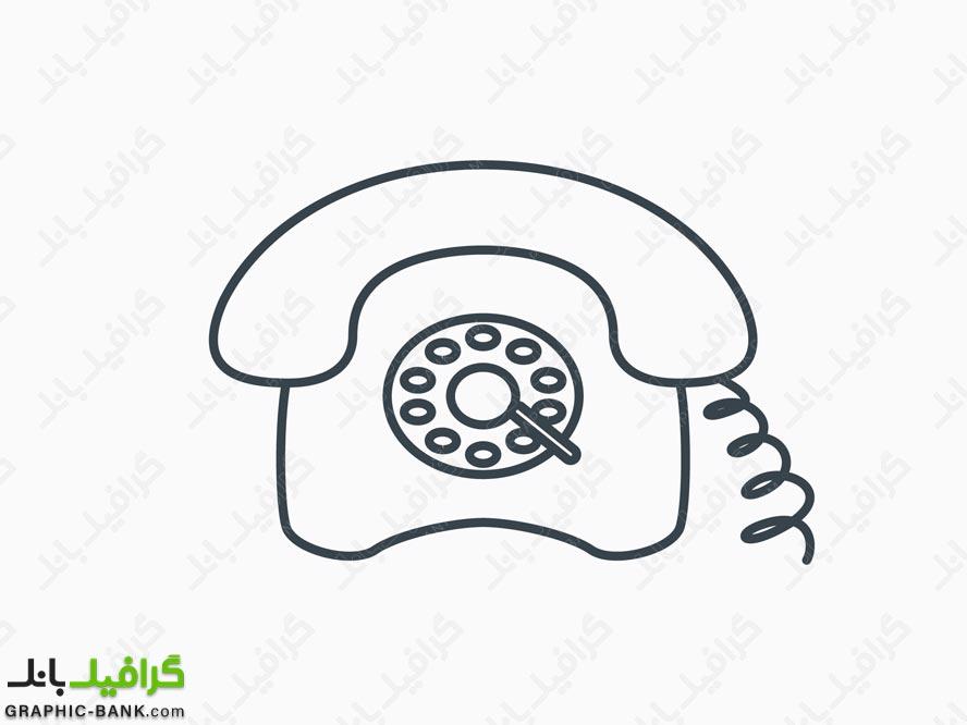 آیکون خطی گوشی تلفن