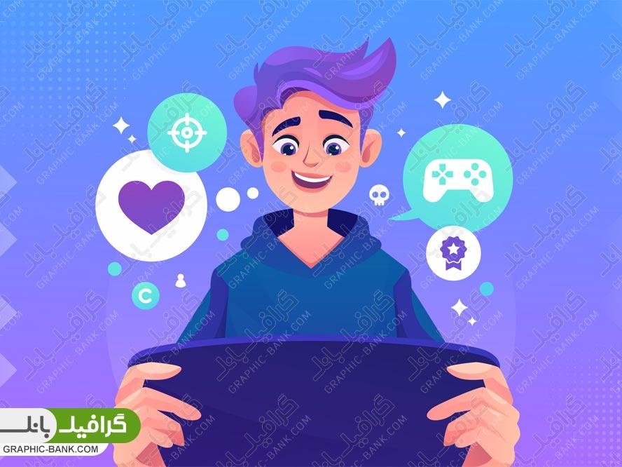 تصویر پسر در حال بازی موبایلی
